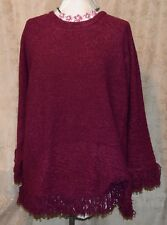 DIALOGUE FABULOUS  BOUCLE SWEATER WITH FRINGE HEM VIOLET 3X NEW W/ TAG SEE MEAS