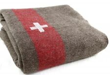 (1) Heavy Swiss Army Blanket Replica Swiss Army Wool Military Blanket Camping