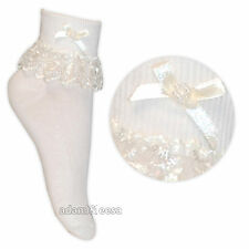 Baby & Girls Jester Frilly Laced Socks 1 or 3 Pairs Cream White Pink