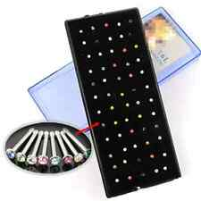 60pcs Colorful Cool Crystal Nose Ring Stud Stainless Steel Body Piercing Jewelry