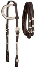 Royal King dark oil leather one ear silver overlay show bridle horse tack equine