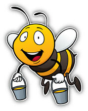Happy Bee Cartoon Car Bumper Sticker Decal 4'' x 5''