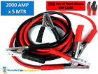 HEAVY DUTY 2000AMP CAR VAN JUMP LEADS 5 METRE BOOSTER CABLES START NEW & GLOVES