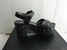 Chanel CC Logo Black Leather Wood Platform Sandals Shoes Size:38/7.5 $975 NIB