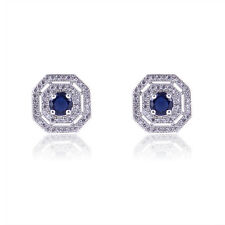 Jewelry Blue Sapphire Stud Earrings Lady's 10Kt White Gold Filled Wedding Gift