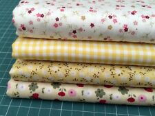 """4 pcs 12"""" x 8"""" 100% COTTON PATCHWORK FABRIC Yellow Florals Flowers y1 *NEW*"""