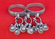 ANTIQUE TRIBAL OLD SILVER DOUBLE RING FOR TOW FINGER