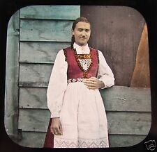 Glass Magic lantern slide NORWAY HARDANGERFJORD GIRL ODDE C1890 L77
