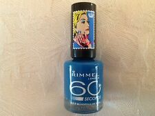 Genuine Rimmel London 60 Seconds Nail Varnish Polish 823 BLINDFOLD ME BLUE
