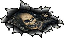 LRG Carbon Fibre Fiber Ripped Open Torn Metal & Gothic Skull Inside car sticker