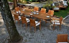 "9 PC DINING TEAK SET GARDEN OUTDOOR PATIO FURNITURE NAPA STACKING 118"" OVAL TABL"