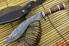 Custom Damascus Kukri Hunting Knife Handmade With Leather Handle (X74-C)