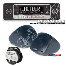 Retro Design USB CD MP3 Oldtimer Radio BLACK SET + Aufbau Lautsprecher+10m Kabel