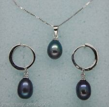"MP"" Fine 8-9mm AAA+black pearl jewelry set 925S chain"