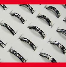 100pcs black and white aluminum alloy Rings Wholesale jewelry lots free shipping