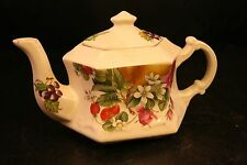 VTG Crownford Giftware Corp Porcelain Teapot Made In England Fruit Design-33T!