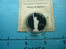STATUE OF LIBERY NEW YORK 1/4 OZ 2000 VINTAGE 999 SILVER PROOF $10 COIN RARE D67