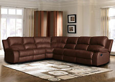 Classic Large Sectional Sofa Brown Faux Bonded Leather Recliner End Seat