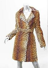 LOVE MOSCHINO Womens Leopard Print Double Breasted Belted Jacket Trench Coat 8
