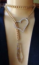 Vintage Lariat Necklace Crystal Prism Pendant W/ Rhinestone Heart Long Chain