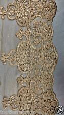 """Champagne Polyester Lace Fabric By Yard Flowers Wedding 46- 60"""" Prom Table"""