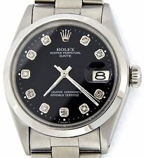 Mens Rolex Stainless Steel Date Watch Oyster w/Domed Bezel & Black Diamond Dial