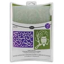 Sizzix Textured Impressions 2 Embossing Folders * Bats & Owl Set *   449219