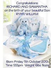 Personnalisé A5 naissance de bébé garçon Félicitations Carte amis nouveaux parents Cadeau