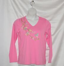 Quacker Factory Zen Garden Embroidered Long Sleeve V-Neck T-shirt Size S Pink