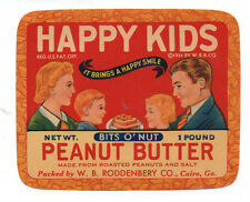 1930s Happy Kids Peanut Butter Label with Family from Cairo Georgia