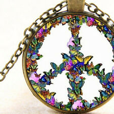 Hippy Peace Symbol of Pretty Butterflies Pendant Necklace Gift Jewellery Present