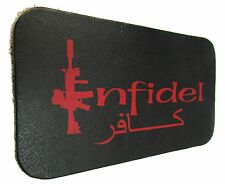 LEATHER PATCH INFIDEL USA MILITARY US ARMY ISIS M16 ISAF MOTORCYCLE BIKER VEST