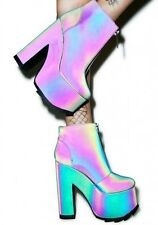 NIB Y.R.U. YRU Nightmare Oil Slick Reflective Platform Boot Sz 9 Dolls Kill