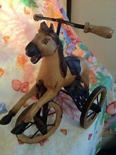 VICTORIAN ANTIQUE TOY REPLICA VTG WOODEN TAN HORSE TRICYCLE HAND CARVED 1960S