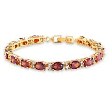 "Attractive Charming red Garnet chain! 18K gold filled lady bracelet 6.7""12.3g"