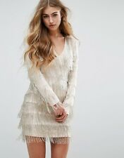 Missguided Peace + Love Embellished Fringe Mini Evening Dress |Silver UK 8/EU 36