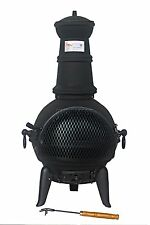 FoxHunter Black Cast Iron Steel Chimenea Chiminea Chimnea Heater Fire Pit LF127