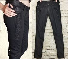 Lip Service 26 Junkie Black Coated Corset Lace Tie Stretch Denim Skinny Jeans