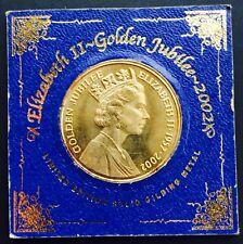 British Elizabeth 2 Golden Jubilee Coin Conwy Gilding North Wales