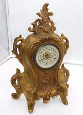 "ANTIQUE BRONZE ROCOCO CHERUB VICTORIAN 11"" SHELF MANTEL CLOCK ~PARTS OR REPAIR"