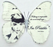 "Black White Audrey Hepburn Quote Print Butterfly Swarovski- 5""  Decal Sticker 3D"
