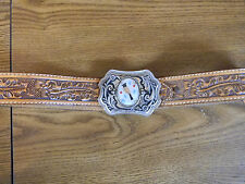 Pro Rodeo Womens Leather Belt 1976-Buckle with MOP Inlay- Wow!- Size 32