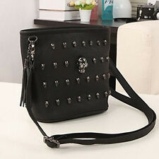 Women Punk Skull Rivets PU Leather Handbag Tote Shoulder Crossbody Bag Black