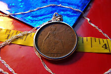 """1931 King George V ENGLISH PENNY Coin Pendant 28"""" Twisted Wavy .925 Silver Chain"""