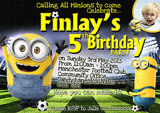 Boys Persionalised  Minion football party invitation/thank you card X8 cards