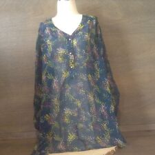 Pure Energy Sheer Blouse Top Size PLUS 1 Green GEO BUTTON SLEEVES Career Casual