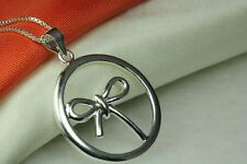LOVELY CUTE BOW IN CIRCLE STERLING SILVER 925 NECKLACE WITH 16INCH CHAIN~BLC~~MO