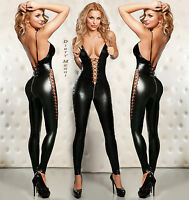 CATSUIT OVERALL WETLOOK Clubwear Party GOGO Body Anzug SCHWARZ S M 36 38