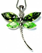 w Swarovski Crystal ~Green DRAGONFLY Bridal Wedding Charm Pendant Chain Necklace