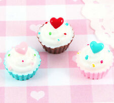 6 x Cute Candy Heart Cupcake 3D Craft Cabochon Embellishments Kawaii Deco